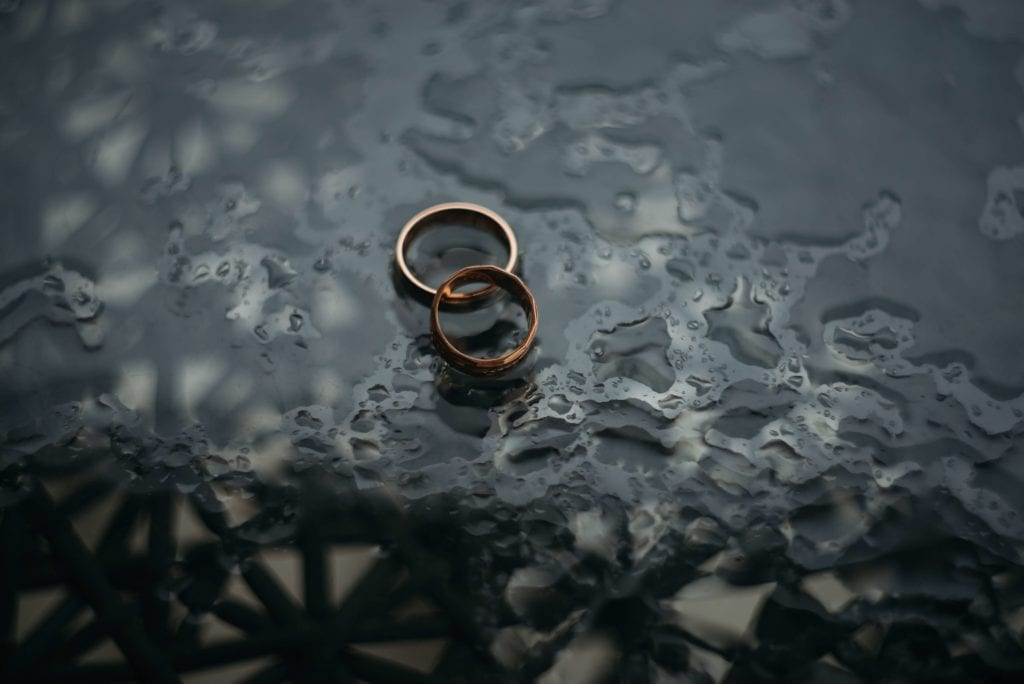 gold wedding rings lying under water